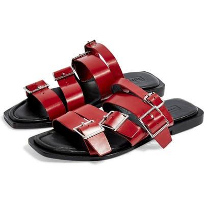 Topshop Felix Strappy Buckle Slide Sandal - Red