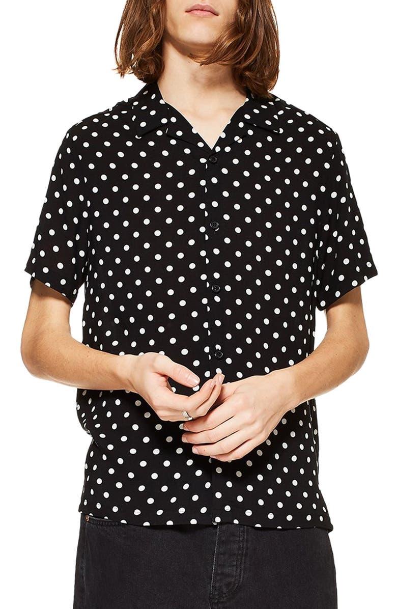 TOPMAN Polka Dot Camp Shirt, Main, color, WHITE MULTI