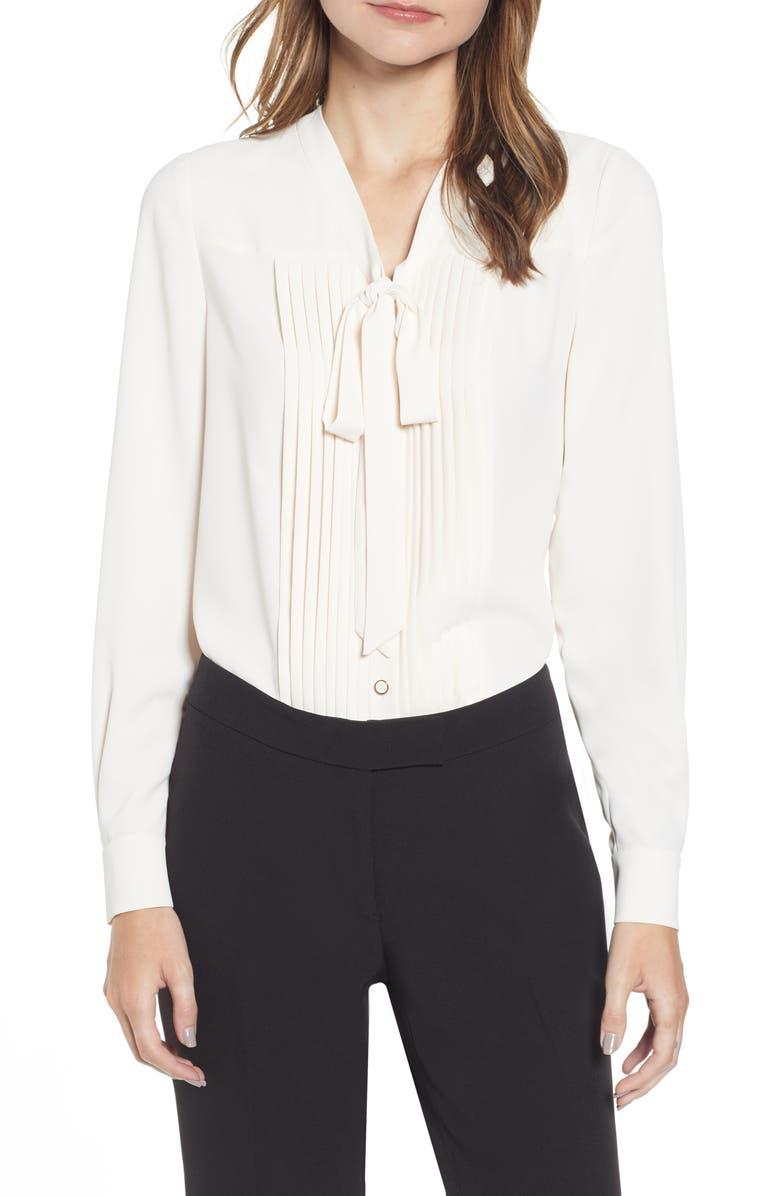 ANNE KLEIN Tie Neck Button Front Long Sleeve Blouse, Main, color, ANNE WHITE