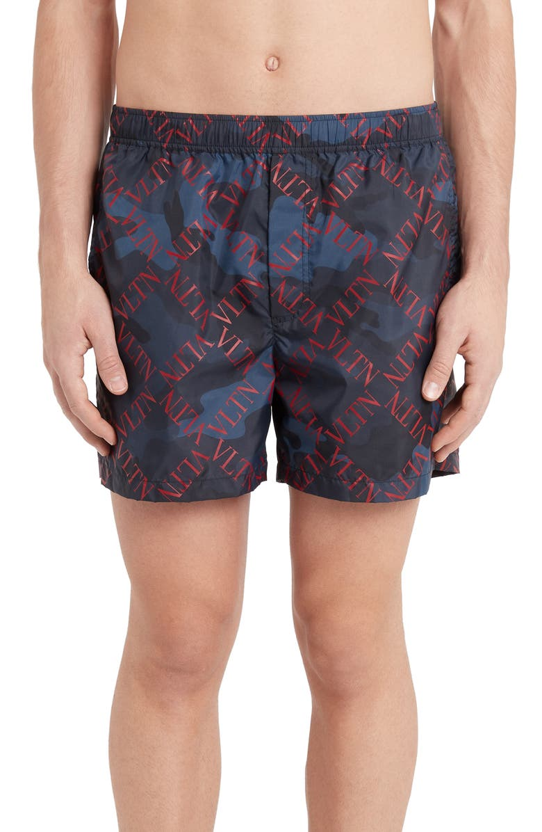 VALENTINO Diamond Logo Camo Swim Trunks, Main, color, MARINE/ SCARLET