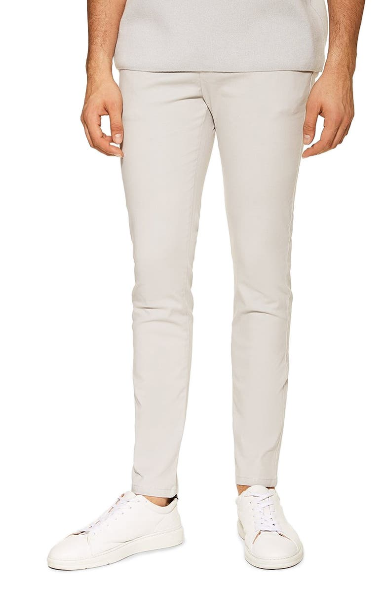 TOPMAN Summer Slim Fit Stretch Chinos, Main, color, 020
