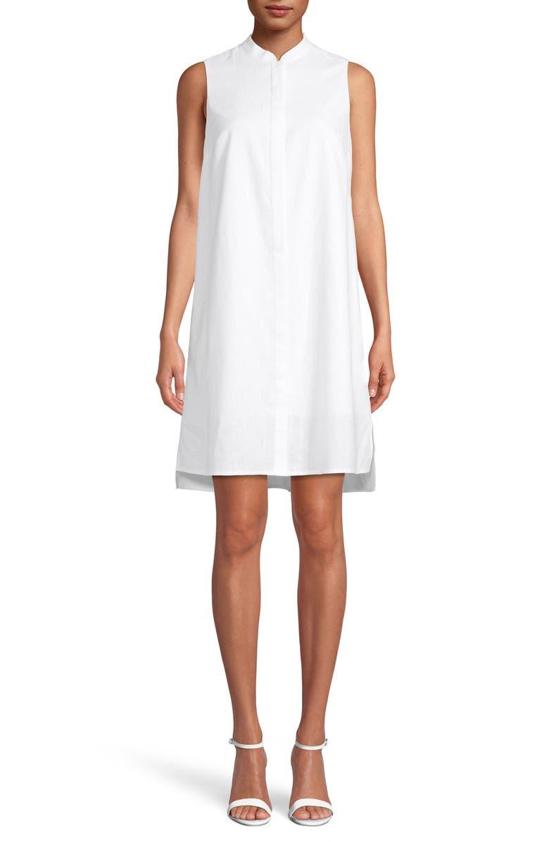 ANNE KLEIN Linen Trapeze Dress, Main, color, 100