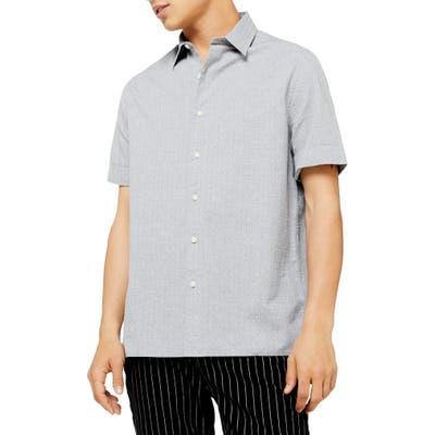 Topman Melange Classic Fit Short Sleeve Dobby Button-Up Shirt, Grey