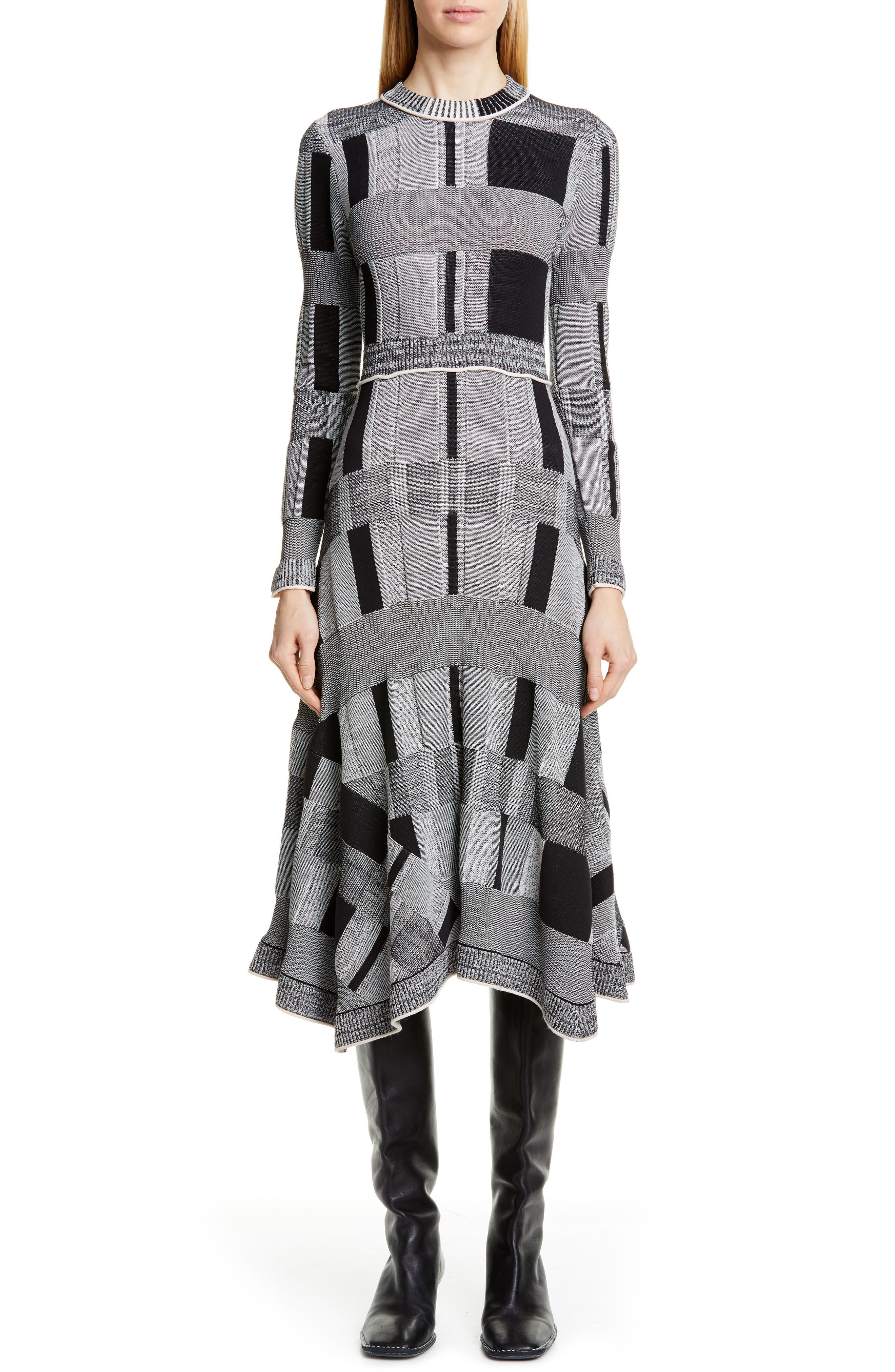 Proenza Schouler Plaid Long Sleeve A-Line Sweater Dress, Grey