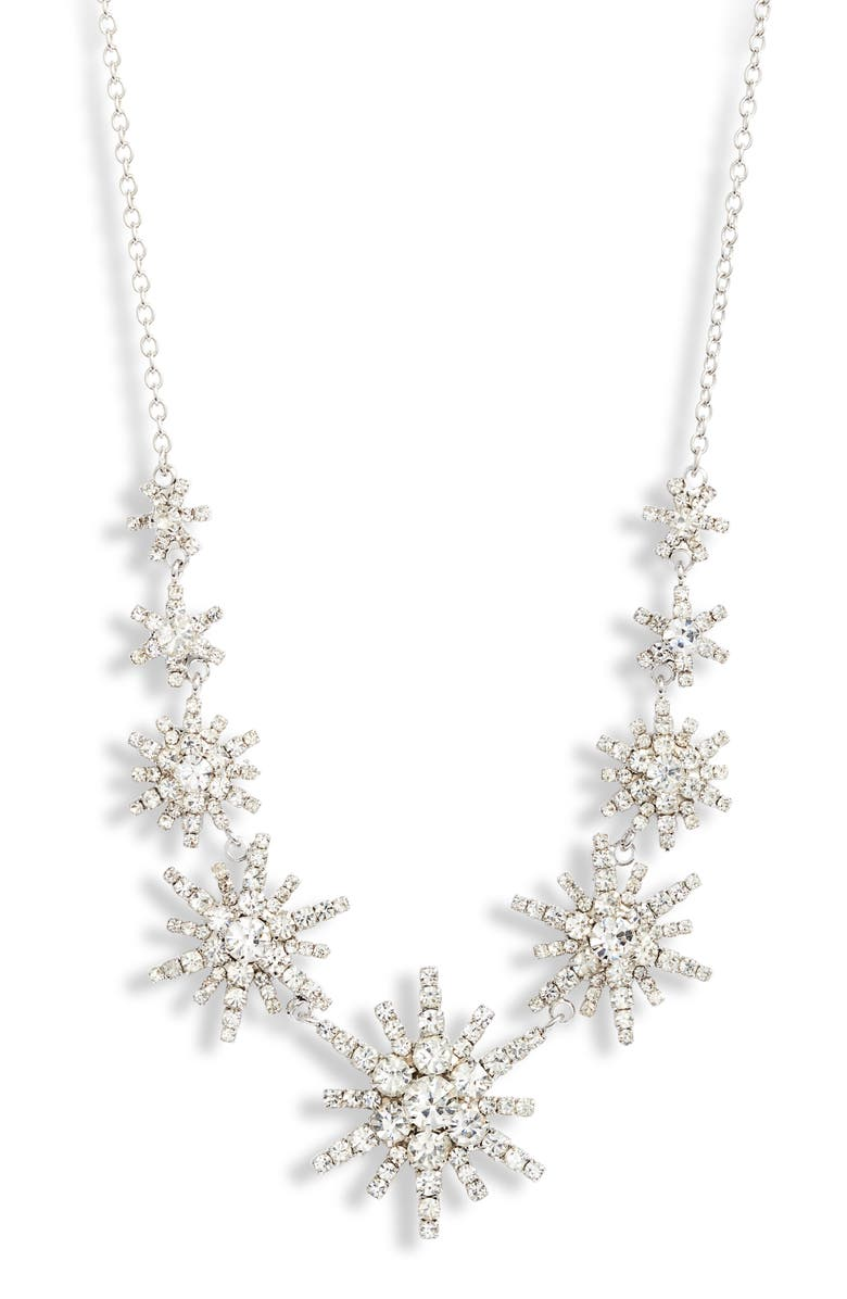 CRISTABELLE Graduated Star Crystal Frontal Necklace, Main, color, CRYSTAL/ SILVER