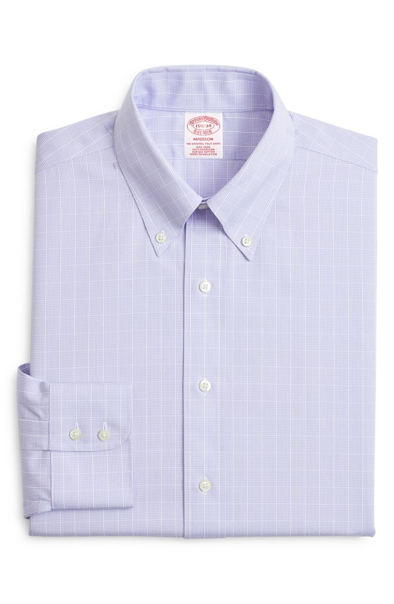 BROOKS BROTHERS Classic Fit Check Dress Shirt, Main, color, PURPLE