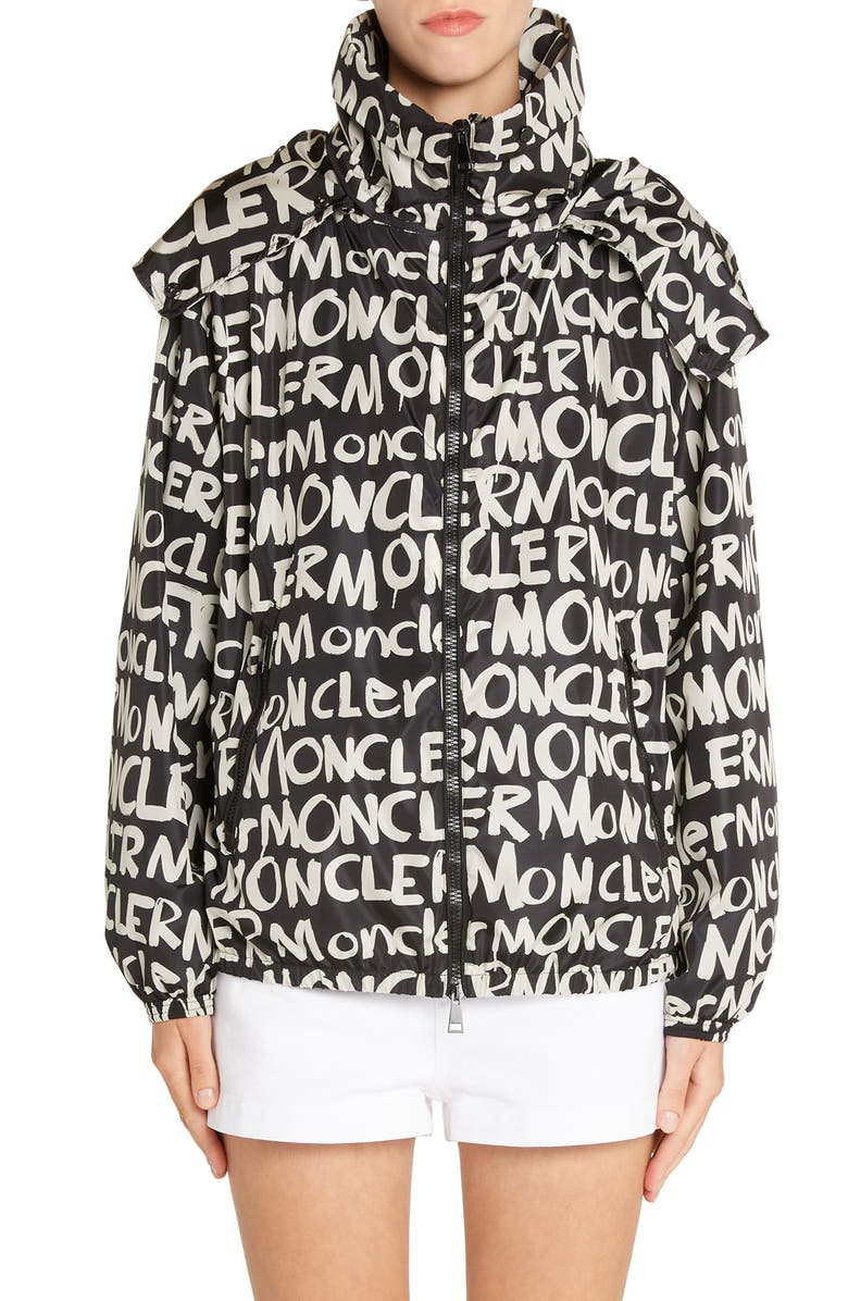 MONCLER Hanoi Logo Print Hooded Jacket, Main, color, 001