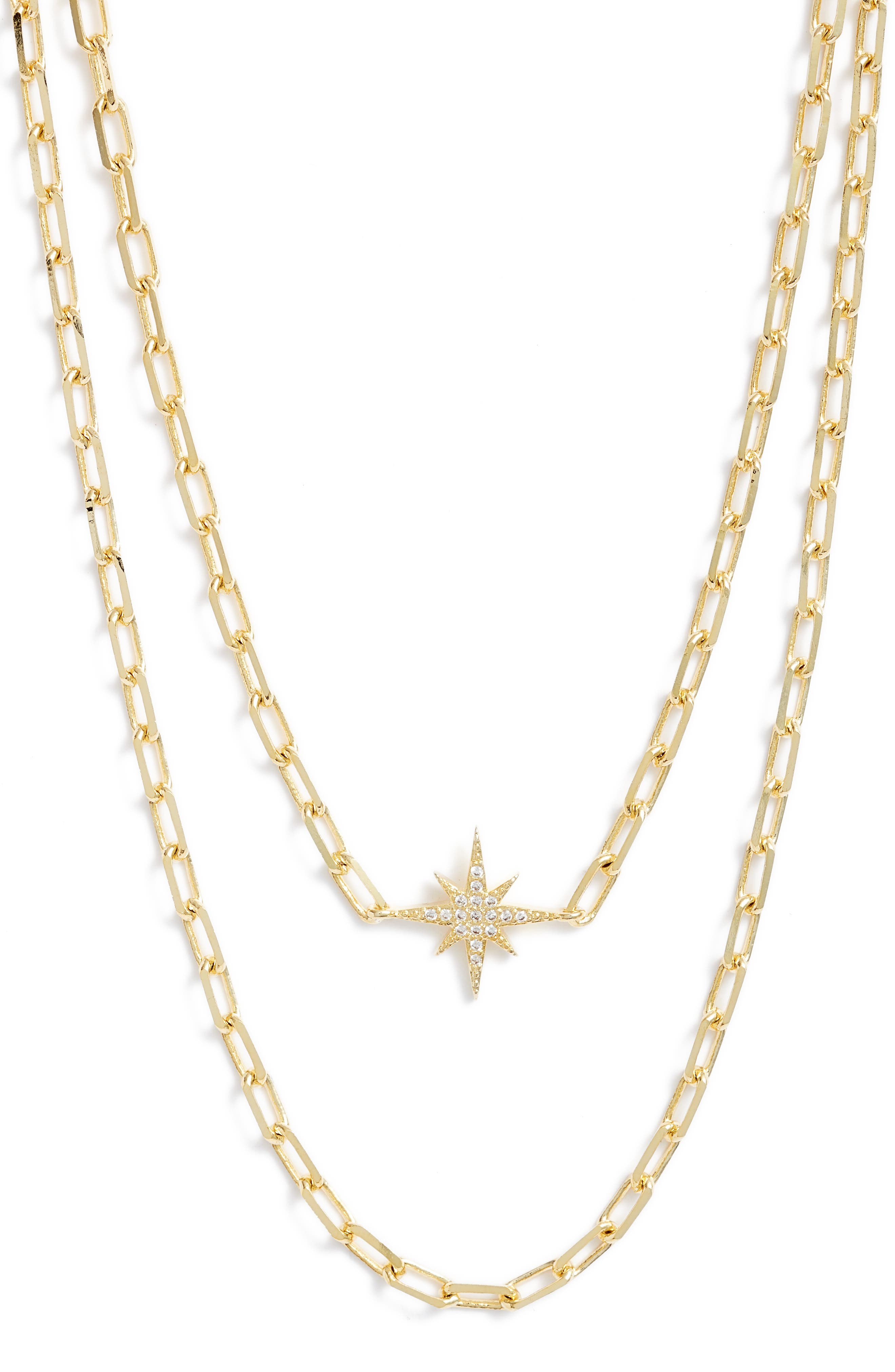 Bracha Starburst Layered Pendant Necklace in Gold at Nordstrom