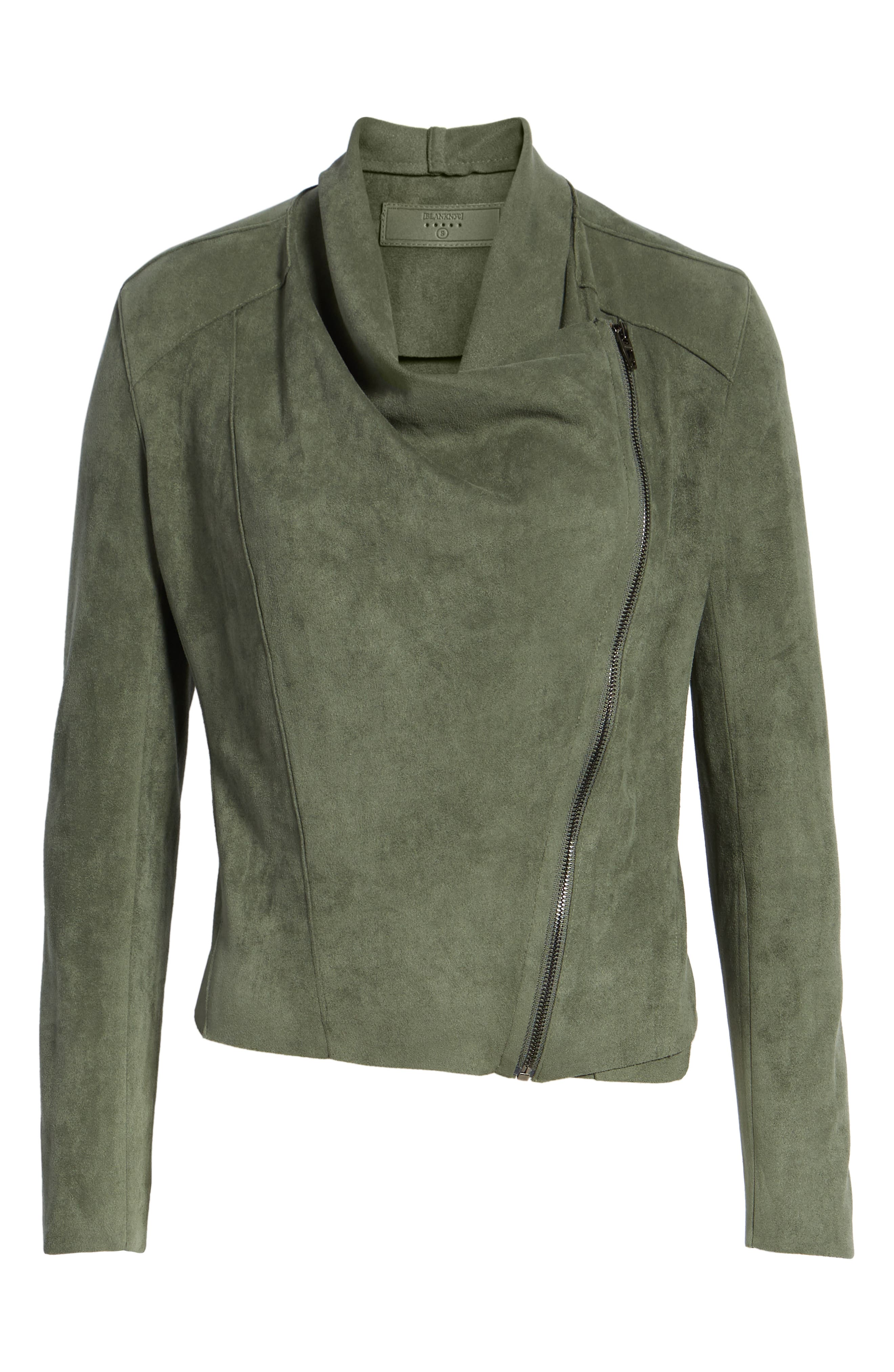 ,                             Drape Front Faux Suede Jacket,                             Alternate thumbnail 7, color,                             OLIVE