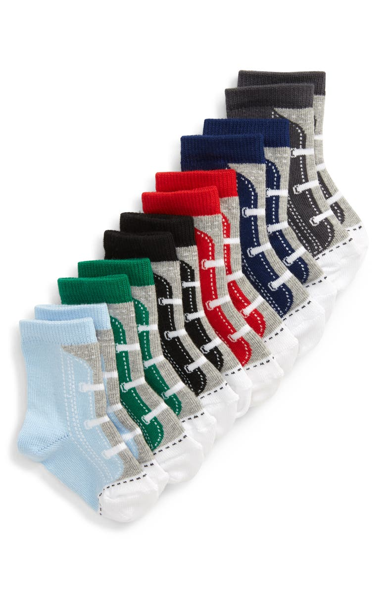 NORDSTROM 6-Pack Sneaker Crew Socks, Main, color, GREY ASH HEATHER MULTI PACK