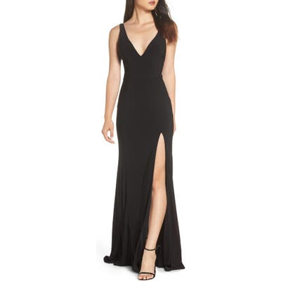 MAC Duggal Plunge Neck Slit Jersey Gown, Black