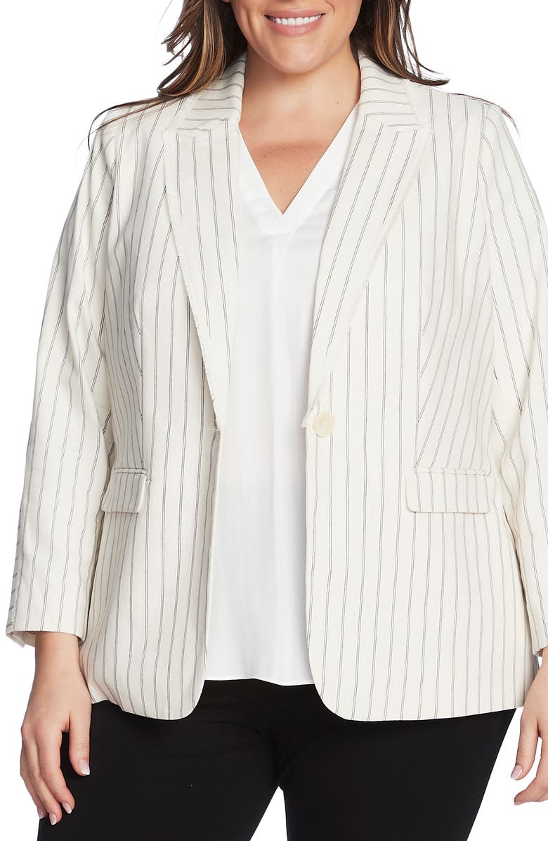 VINCE CAMUTO Stripe Cotton Blazer, Main, color, 144