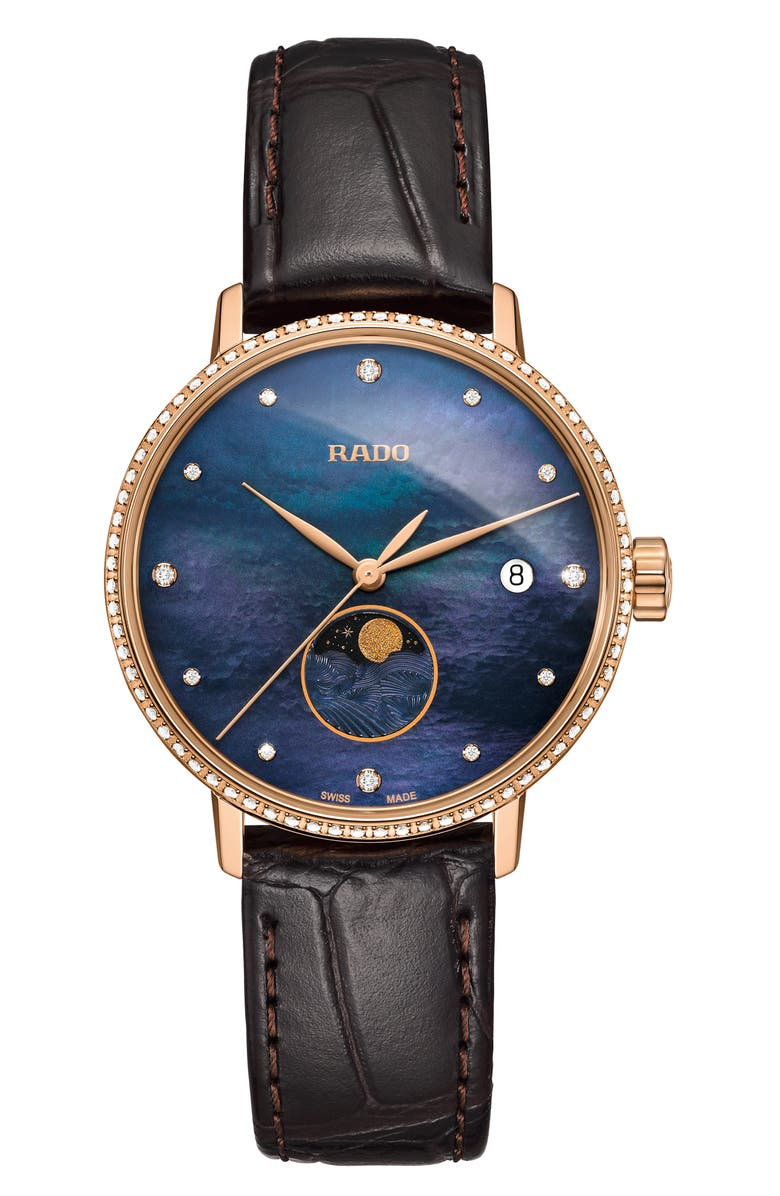 RADO Coupole Classic Leather Strap Watch, 34mm, Main, color, BROWN/ BLUE MOP/ ROSE GOLD