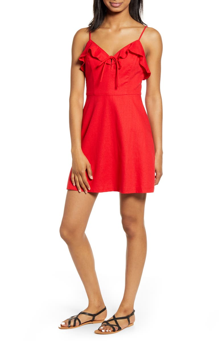 ALL IN FAVOR Ruffle Trim Cotton & Linen Minidress, Main, color, RED