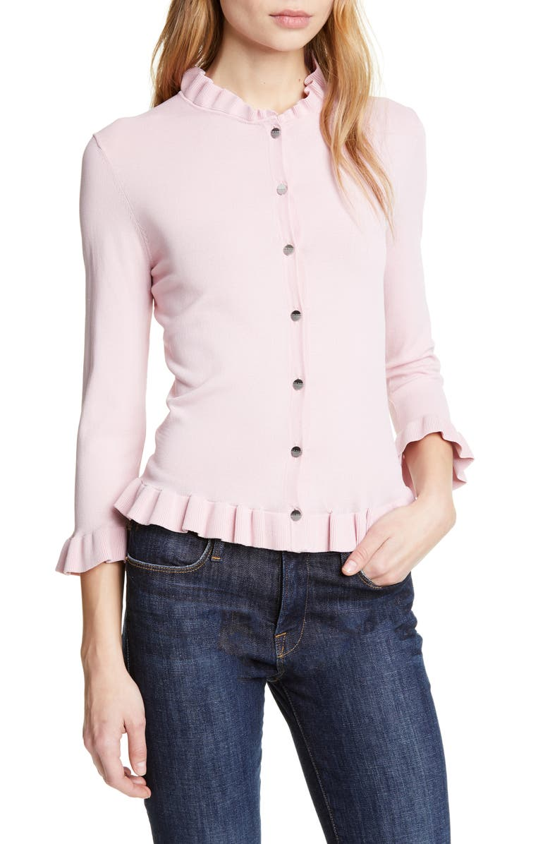 TED BAKER LONDON Treesa Frill Detail Cardigan, Main, color, LIGHT PINK