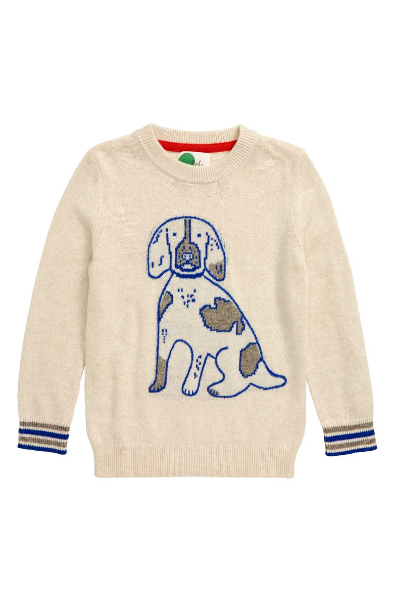 MINI BODEN Dog Graphic Crew Sweater, Main, color, OATMEAL MARL