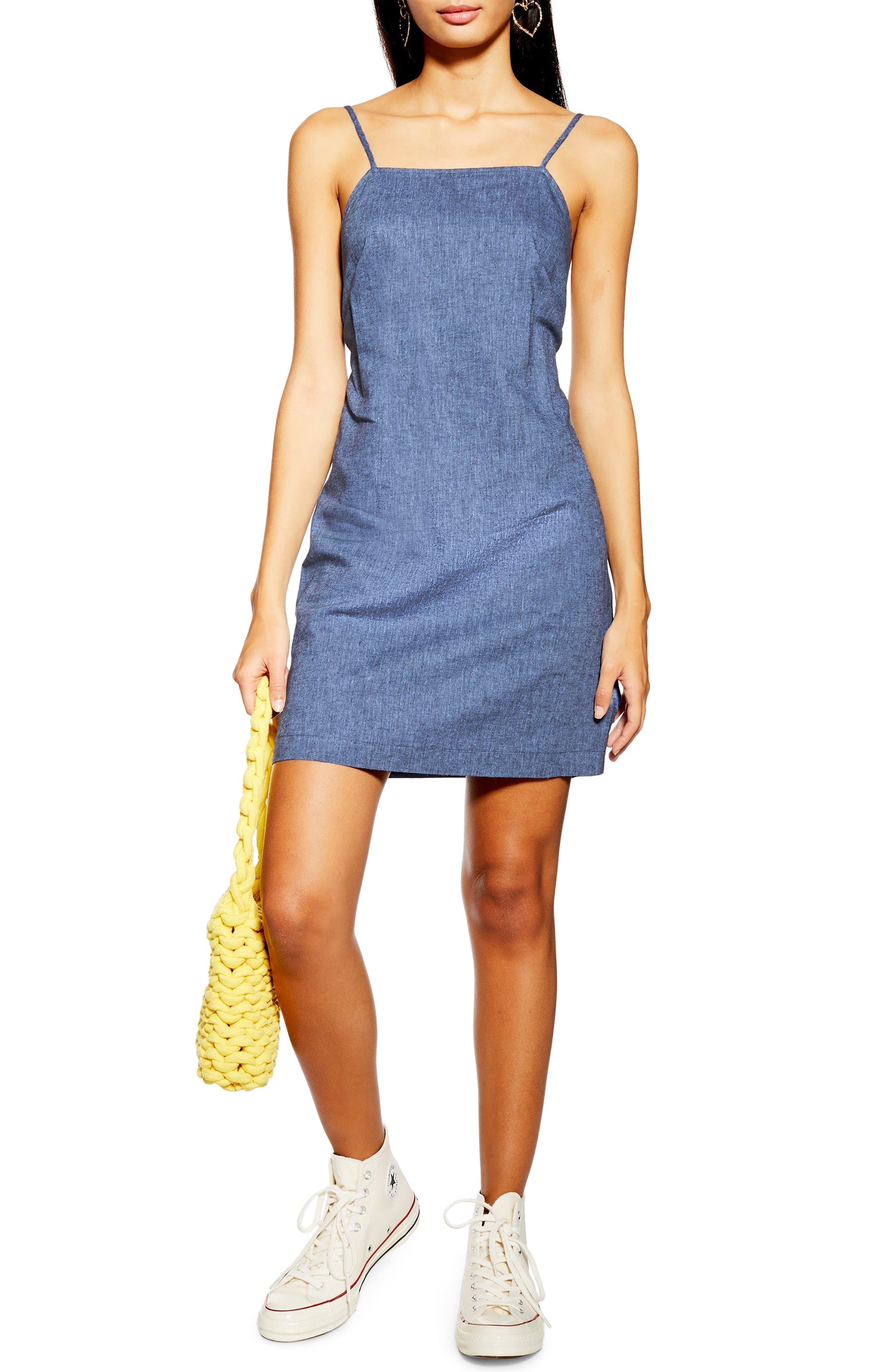 Topshop Sleeveless Chambray Minidress, US (fits like 14) - Blue