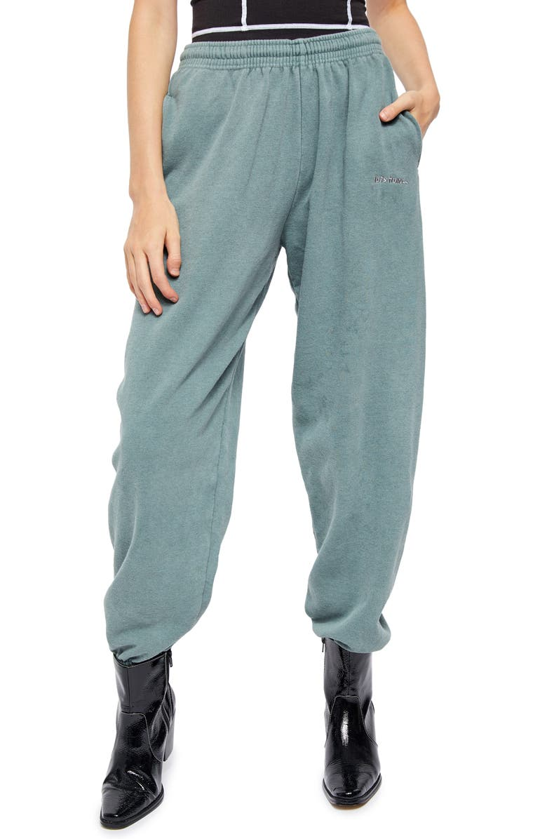 BDG URBAN OUTFITTERS Fleece Track Jogger Pants, Main, color, TURQUOISE