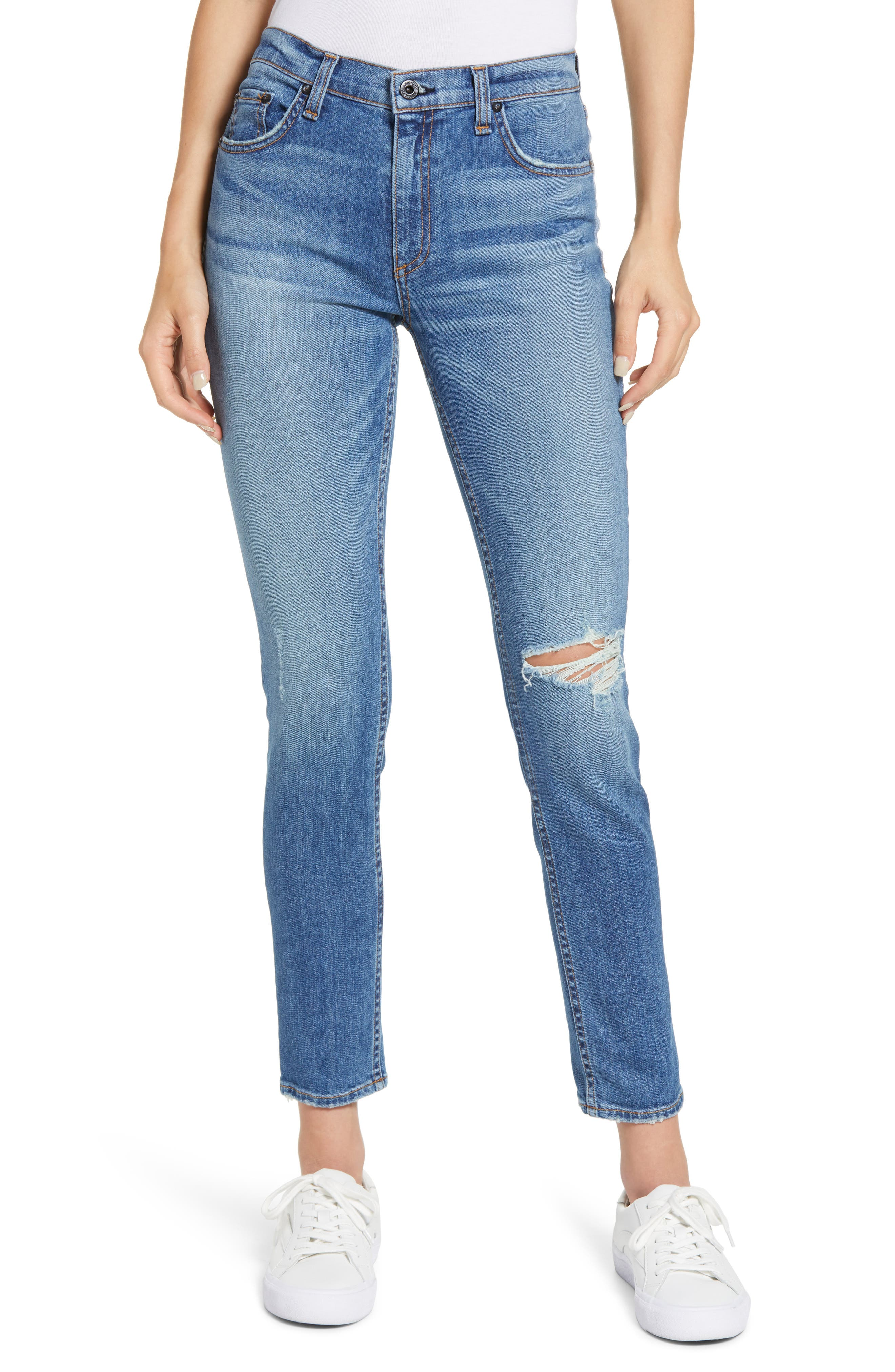 Jax Ripped High Waist Ankle Skinny Jeans