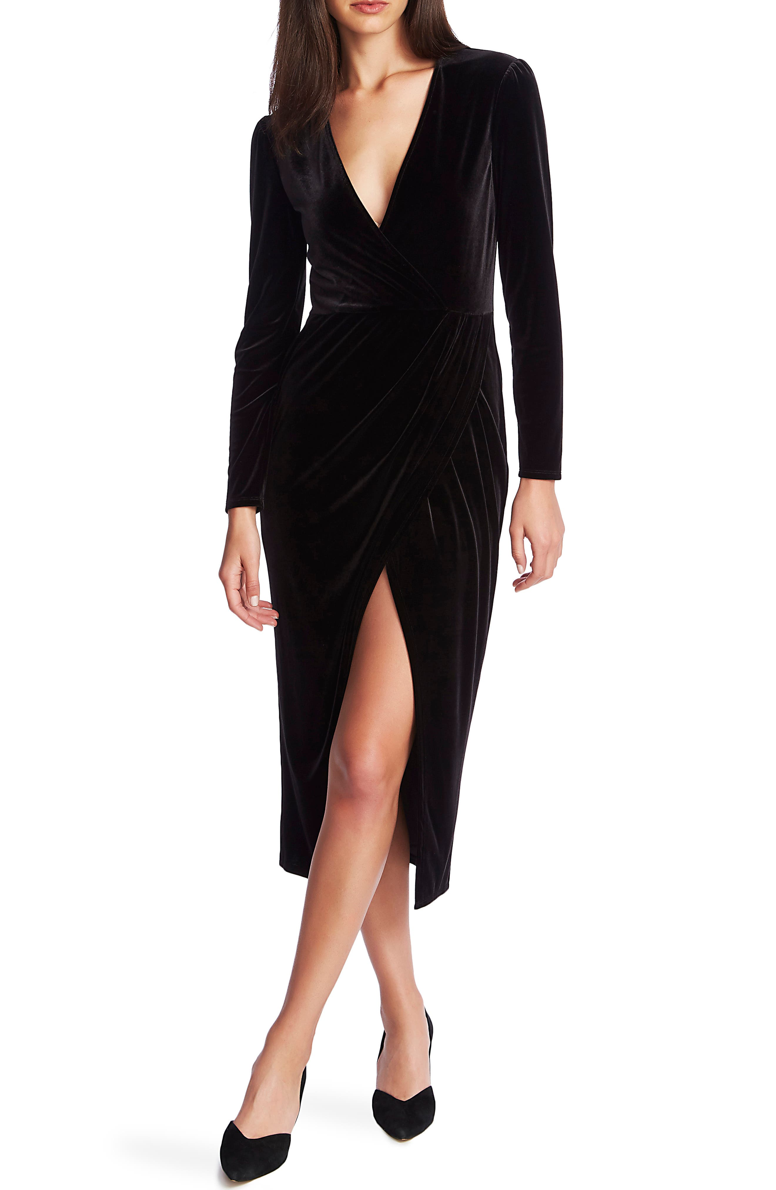 1.STATE Wrap Front Ruched Long Sleeve Velvet Dress