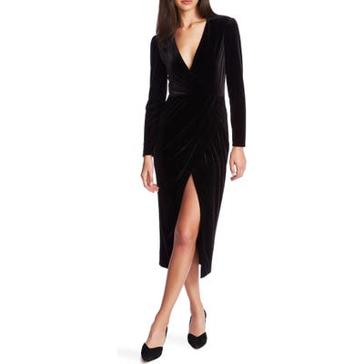 1.state Wrap Front Ruched Long Sleeve Velvet Dress, Black