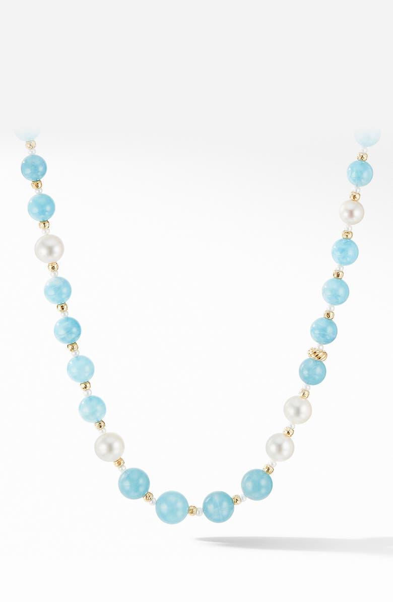DAVID YURMAN Signature Long Bead Necklace with Aquamarine, Pearls & 18K Yellow Gold, Main, color, AQUAMARINE
