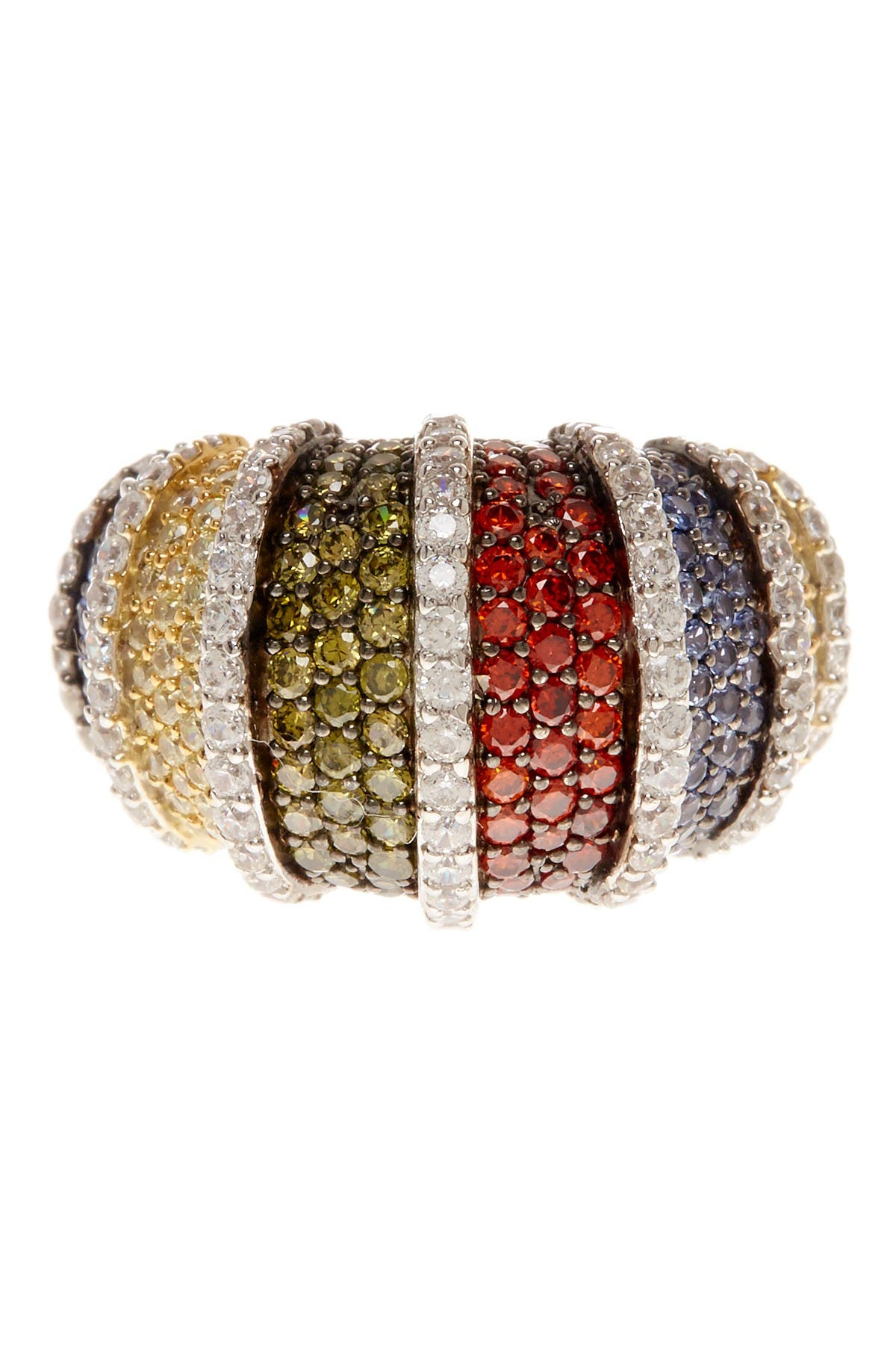 Image of Suzy Levian Sterling Silver Multicolor CZ Pave Row Ring