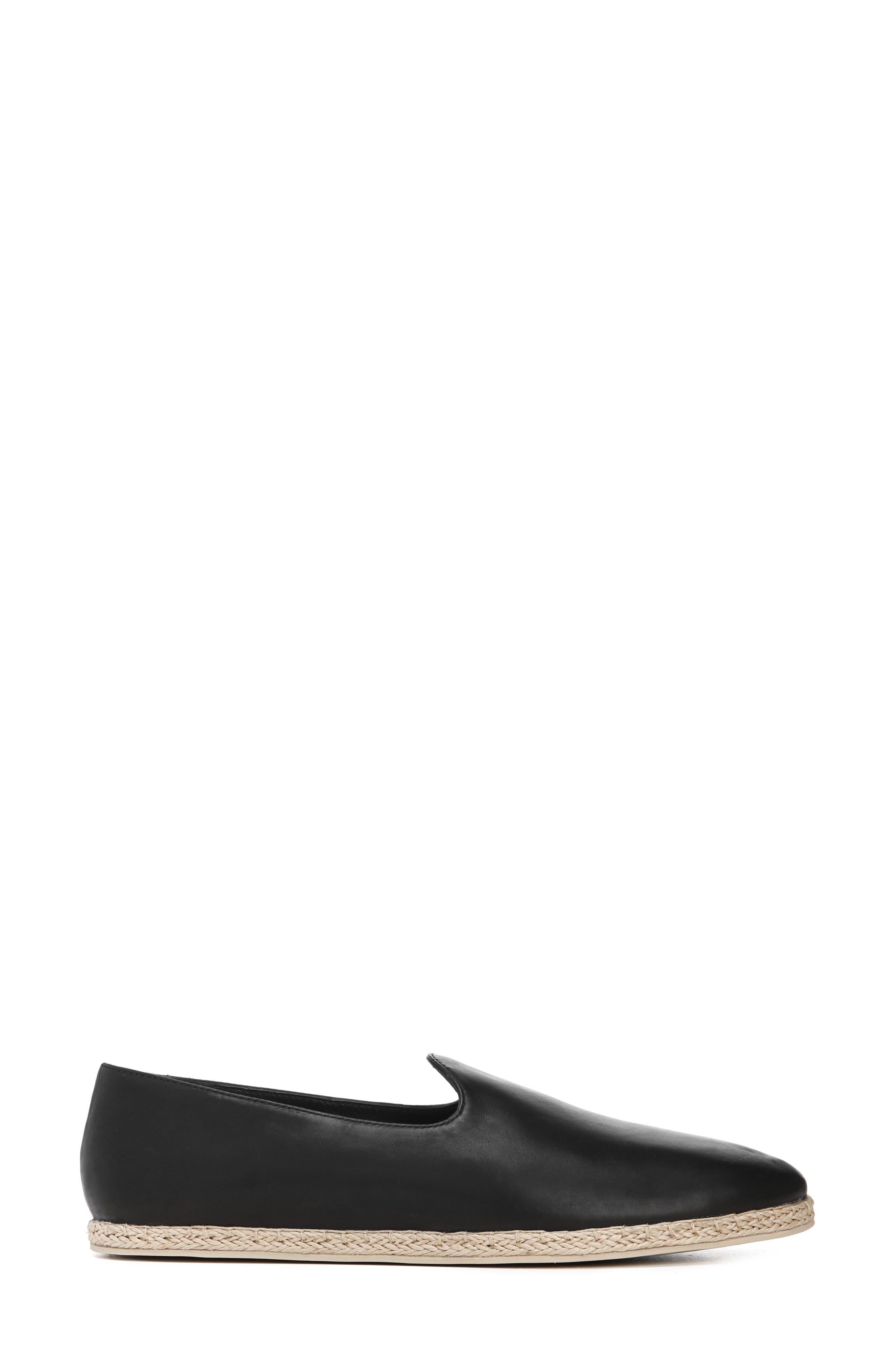 ,                             Malia Loafer Flat,                             Alternate thumbnail 3, color,                             BLACK LEATHER
