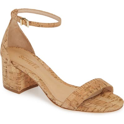 Schutz Chimes Ankle Strap Sandal- Beige