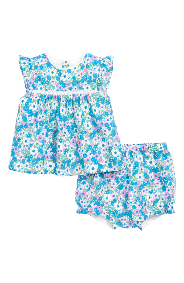 MINI BODEN Sunny Day Floral Top & Shorts Set, Main, color, LILAC/ PINK/ FORGET ME NOT