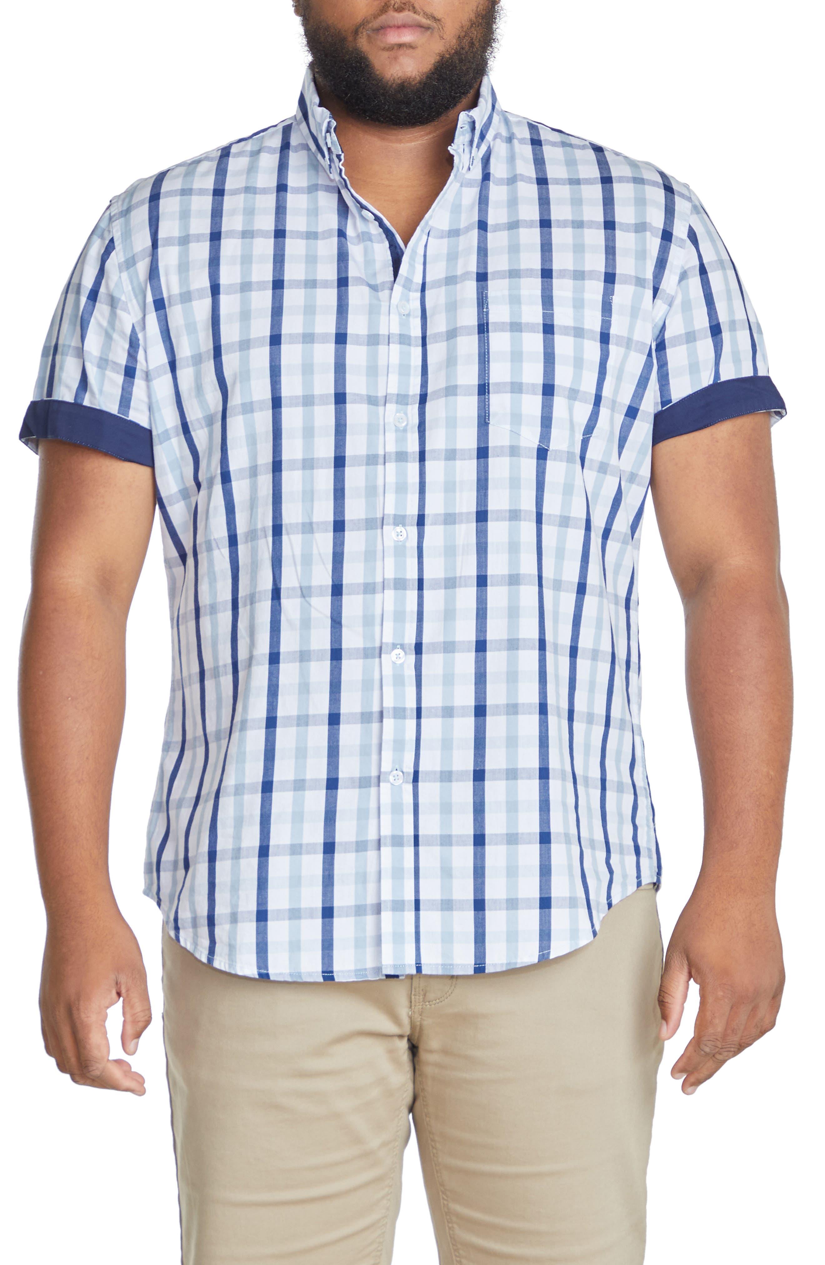 Skylar Check Short Sleeve Cotton Button-Down Shirt