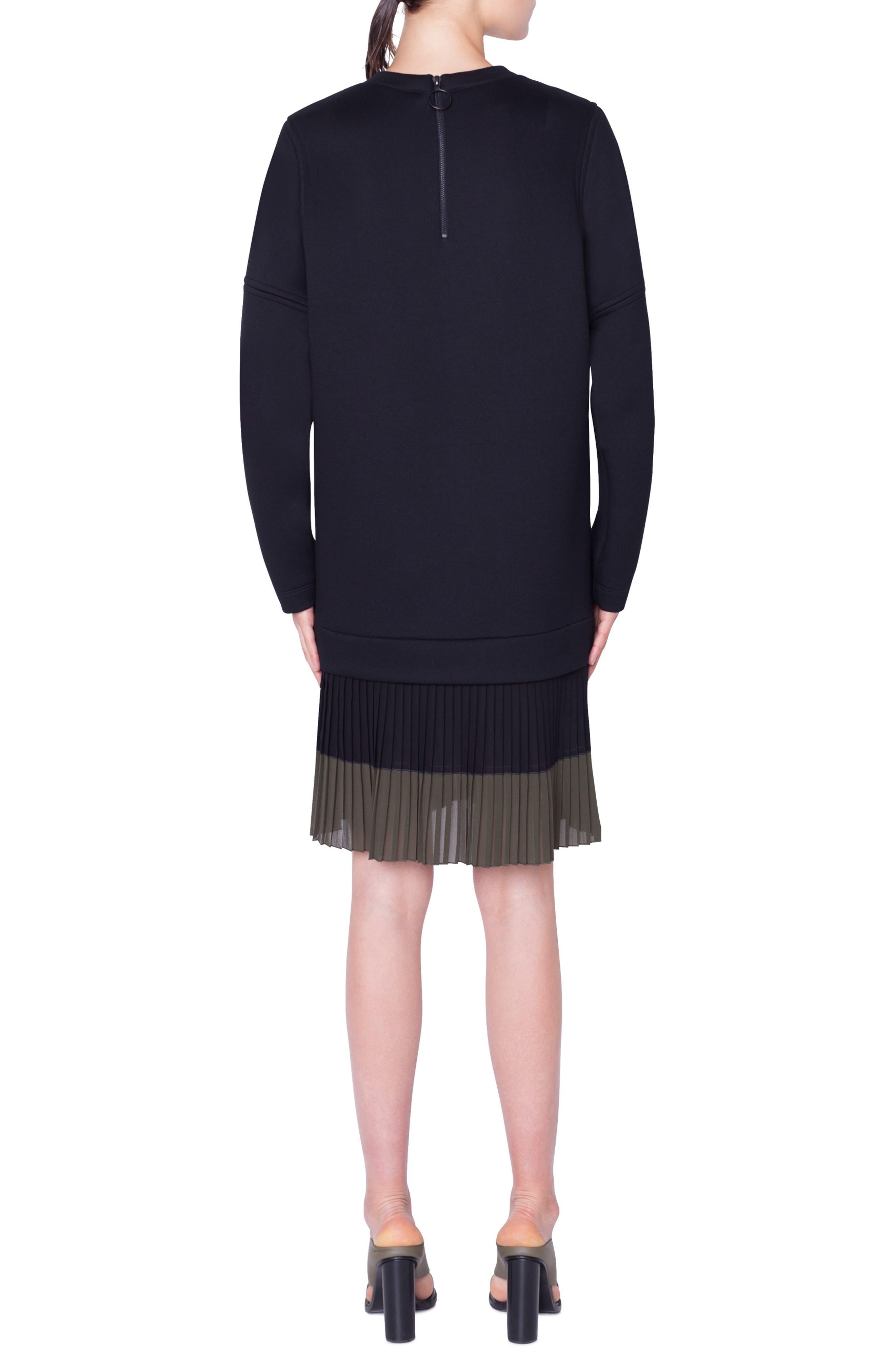 ,                             Pleated Hem Sweatshirt Dress,                             Alternate thumbnail 2, color,                             NERO-OLIVA