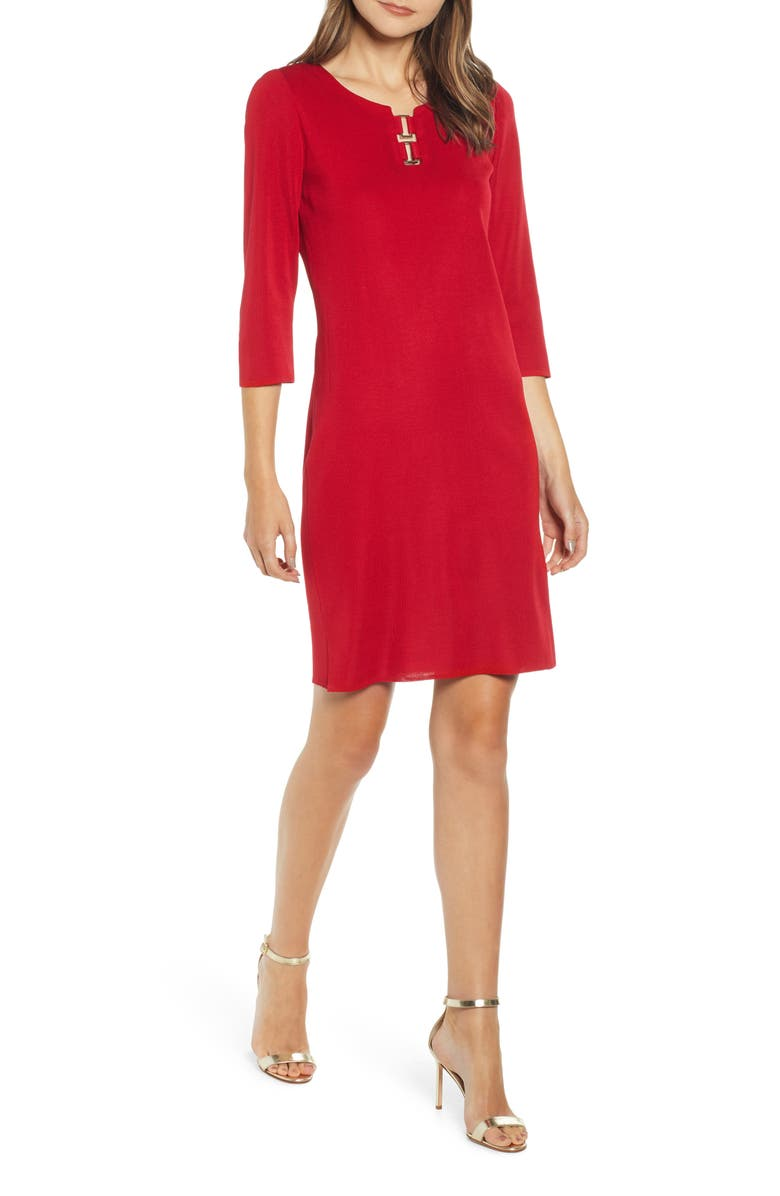 MING WANG Hardware Detail Sweater Dress, Main, color, 620