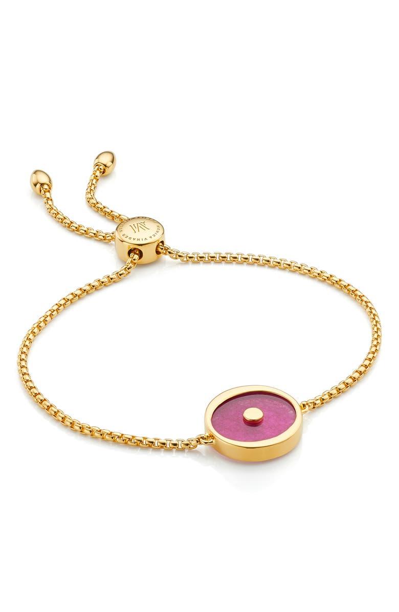 MONICA VINADER Atlantis Evil Eye Stone Friendship Bracelet, Main, color, YELLOW GOLD/ PINK QUARTZ