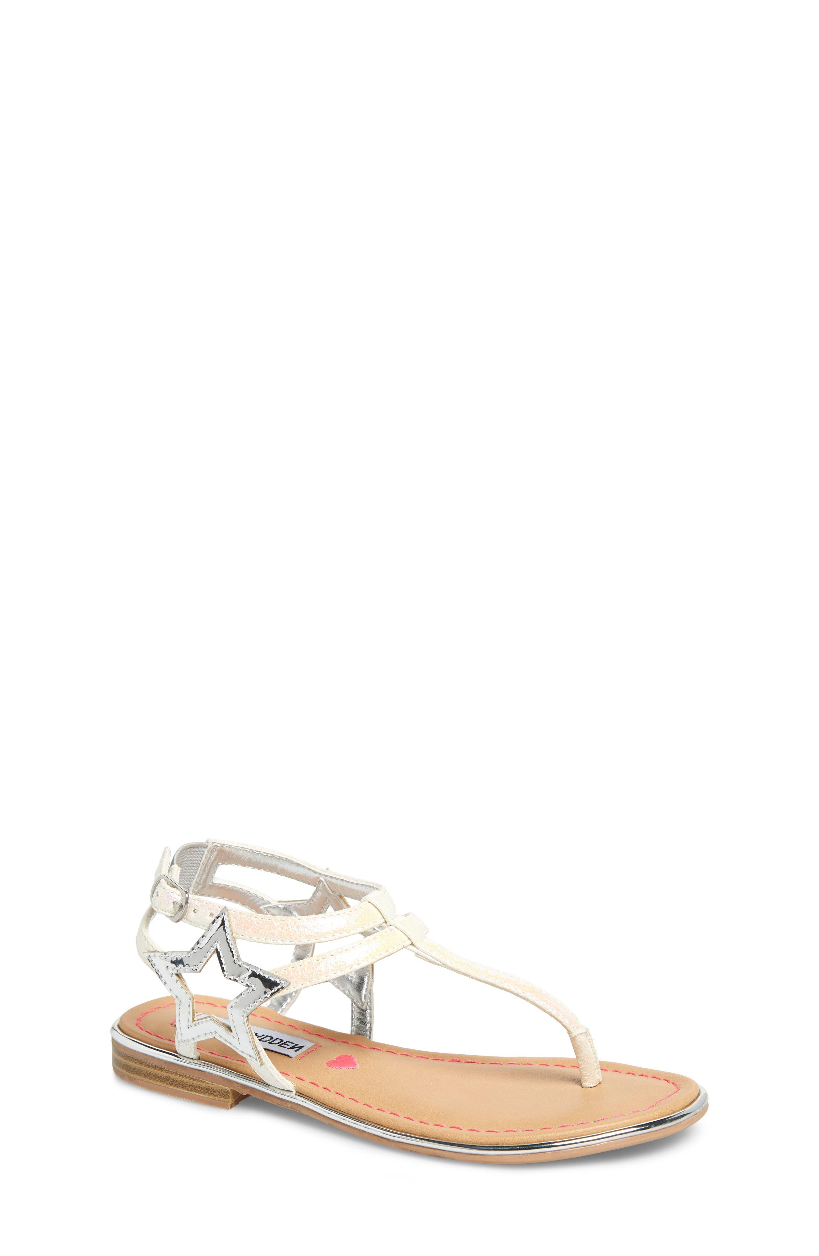 JSTRDUST Metallic Star Sandal, Main, color, IRIDESCENT WHITE