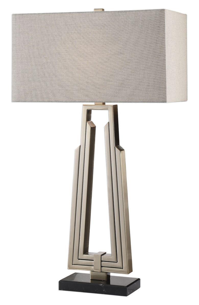 UTTERMOST Alvar Mid Century Modern Table Lamp, Main, color, ANTIQUE NICKEL/ GREY SHADE