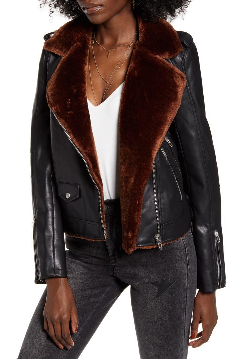 BLANKNYC Faux Fur & Faux Leather Moto Jacket, Main, color, DREAMERS