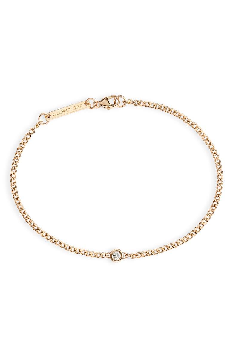 ZOË CHICCO Bezel Diamond Chain Bracelet, Main, color, YELLOW GOLD/ DIAMOND