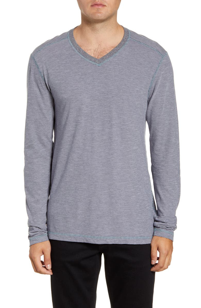 AGAVE Kentwood Long Sleeve V-Neck T-Shirt, Main, color, WET WEATHER 16-5101