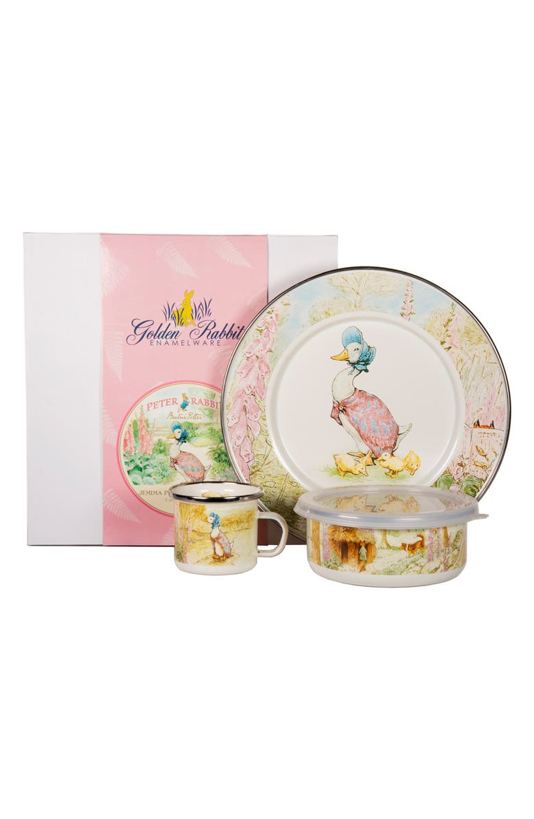 GOLDEN RABBIT Jemima Puddle-Duck Enamel Child's Dish Set, Main, color, WHITE