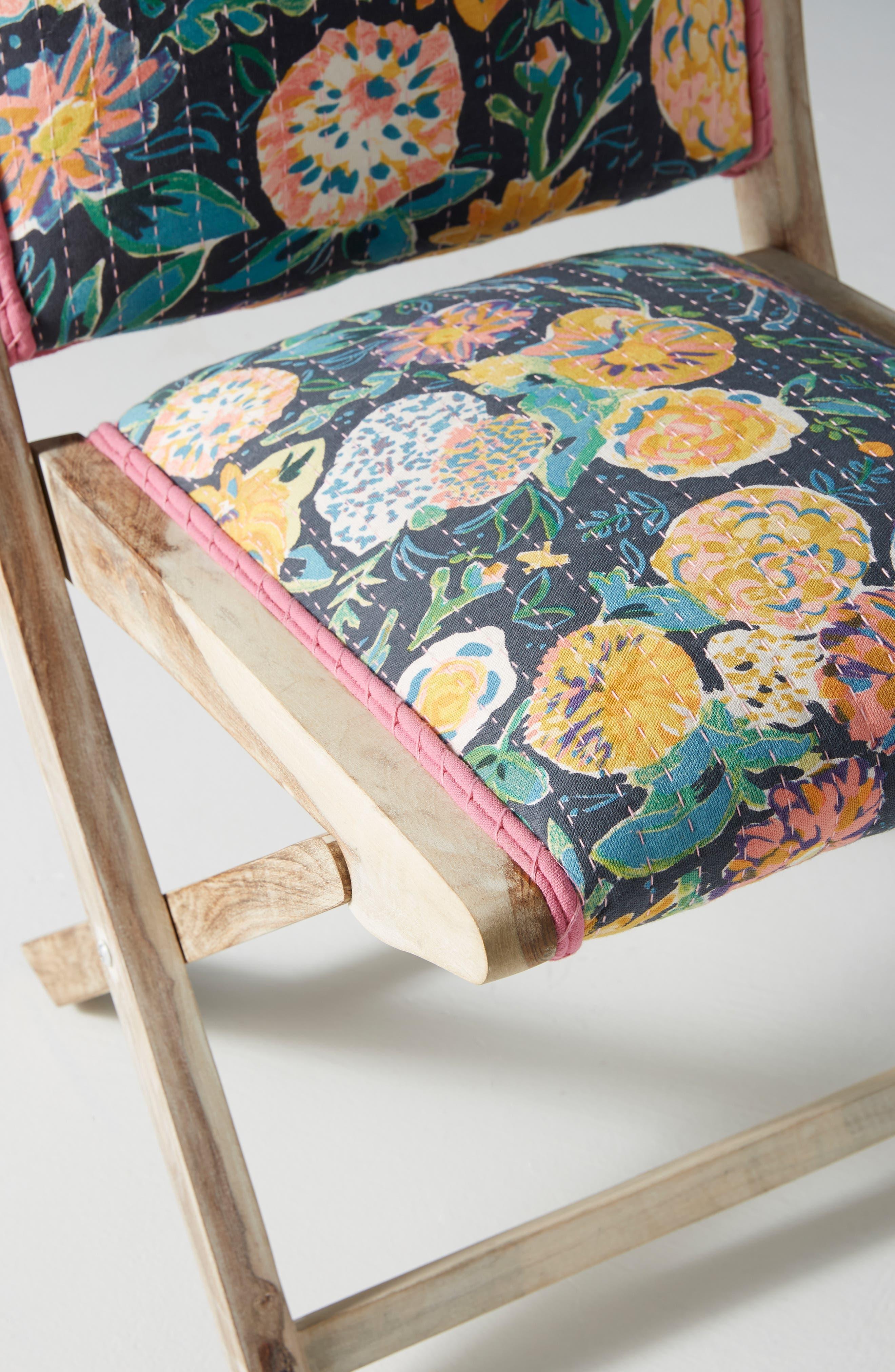 ,                             Emma Terai Folding Chair,                             Alternate thumbnail 6, color,                             BLACK MULTI