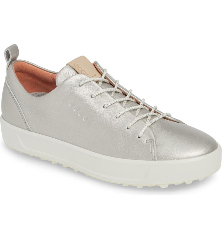 ECCO Soft Water Repellent Golf Shoe, Main, color, SILVER LEATHER