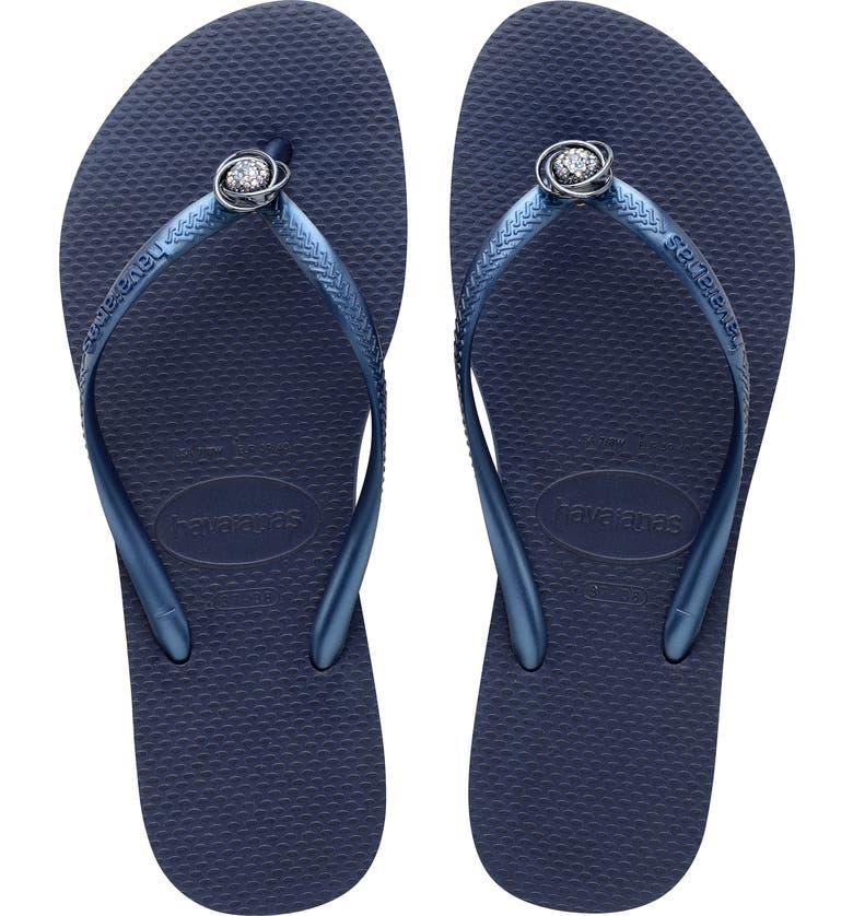 HAVAIANAS Slim Crystal Rings Flip Flop, Main, color, NAVY BLUE