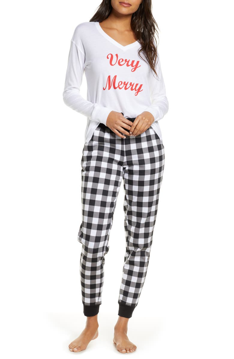 RACHEL PARCELL Jersey & Fleece Pajamas, Main, color, 001