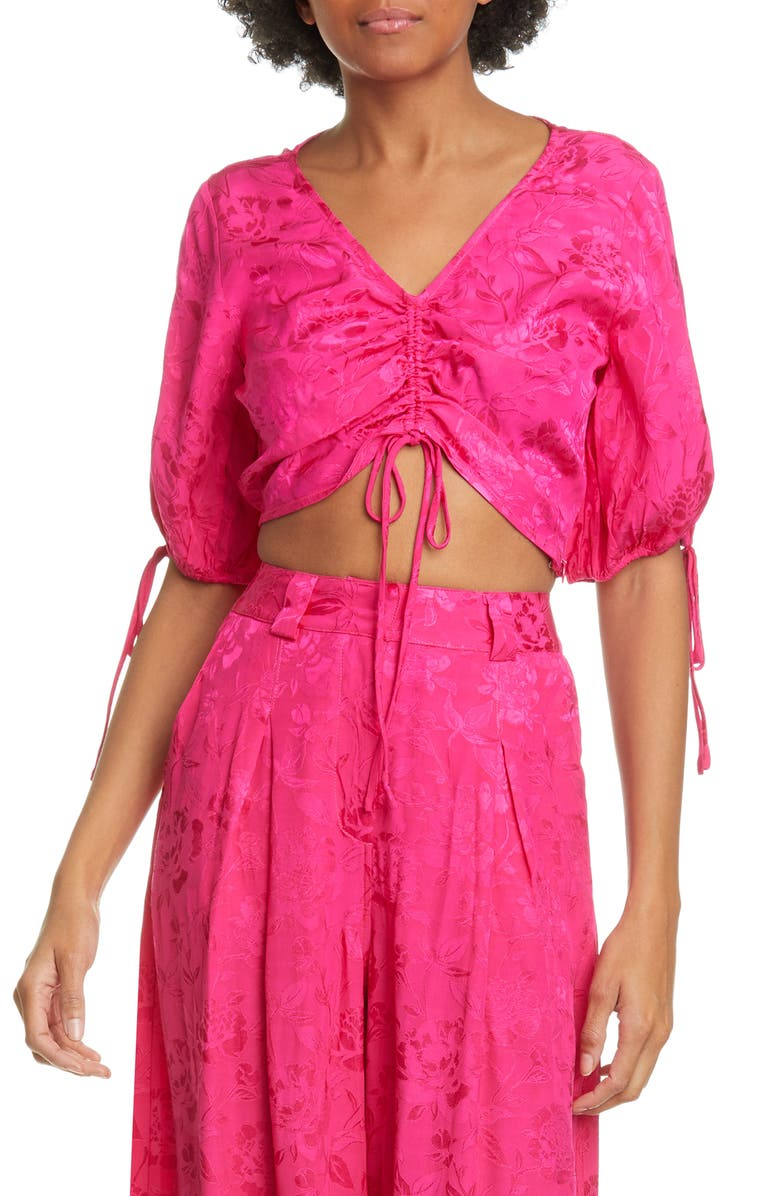 STAUD Blossom Satin Crop Top, Main, color, PEONY