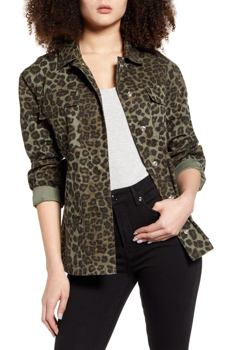 GOOD AMERICAN Camo Snap Front Jacket, Main, color, SAGE LEOPARD 001