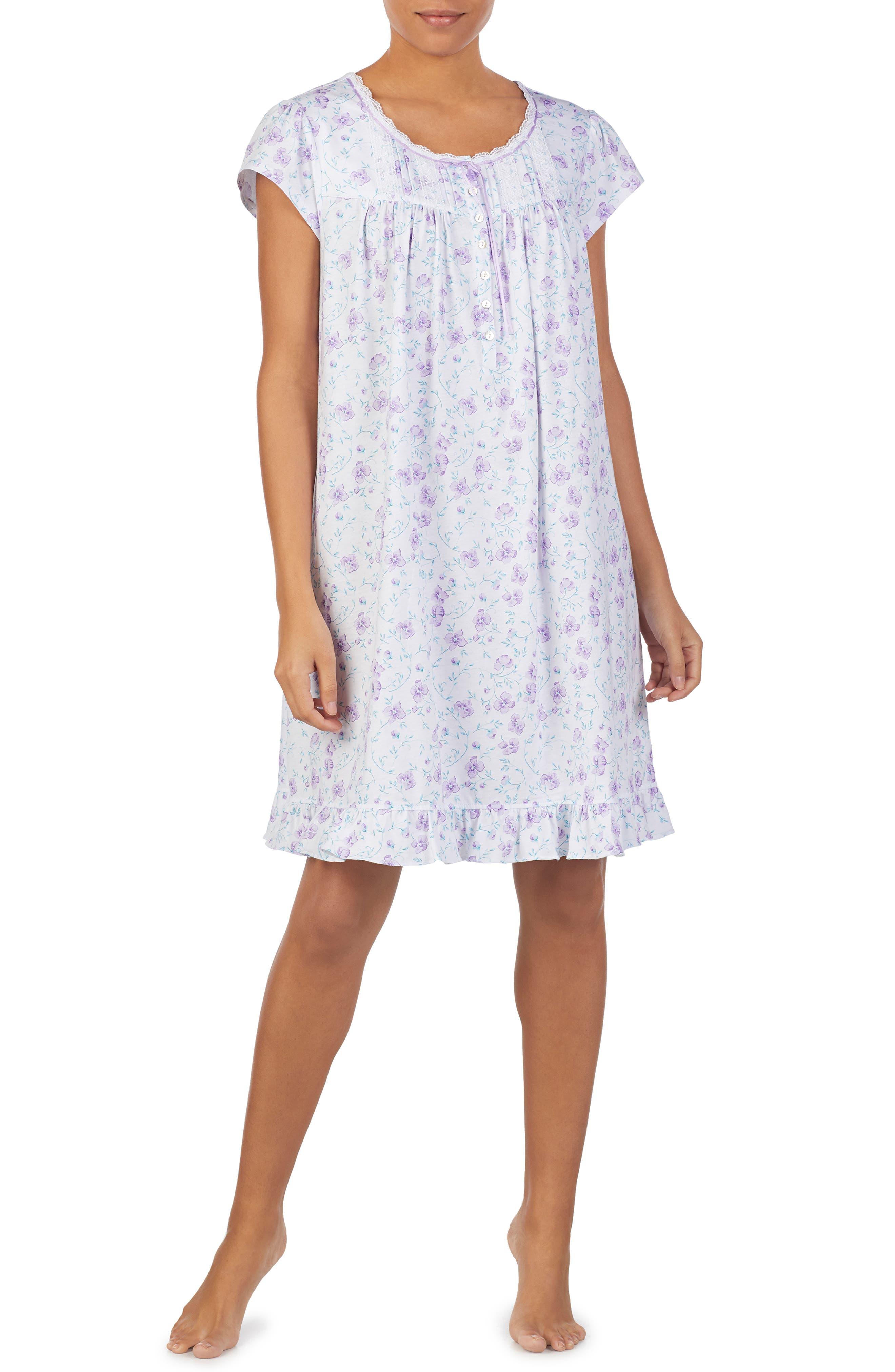 Eileen West Short Sleeve Nightgown, White