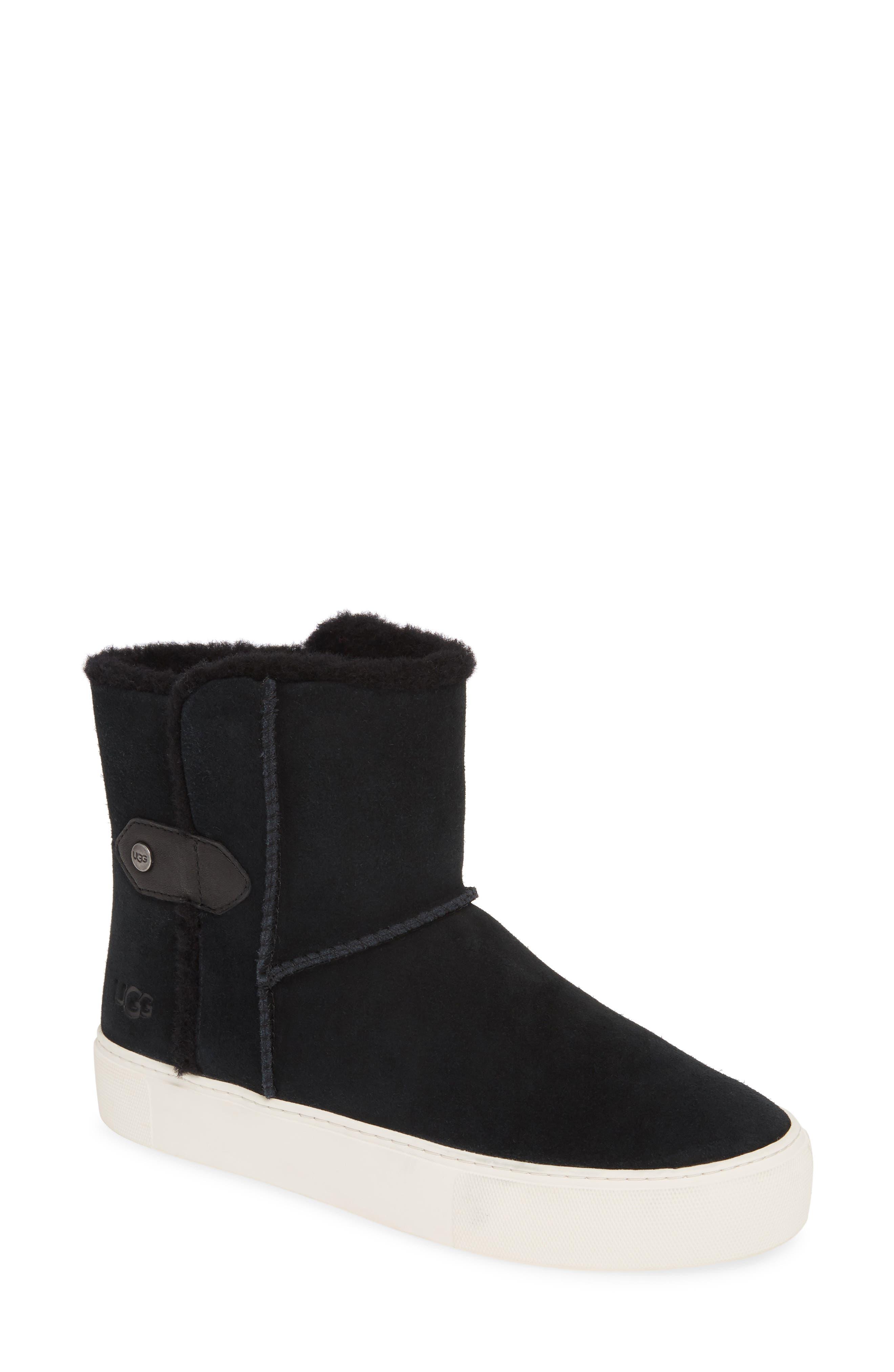 Ugg Priya Plush Sneaker Boot In Black
