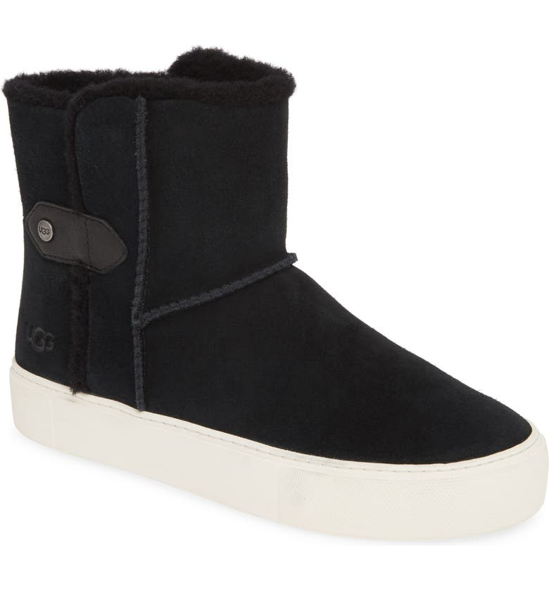 UGG<SUP>®</SUP> Priya Plush Sneaker Boot, Main, color, BLACK SUEDE