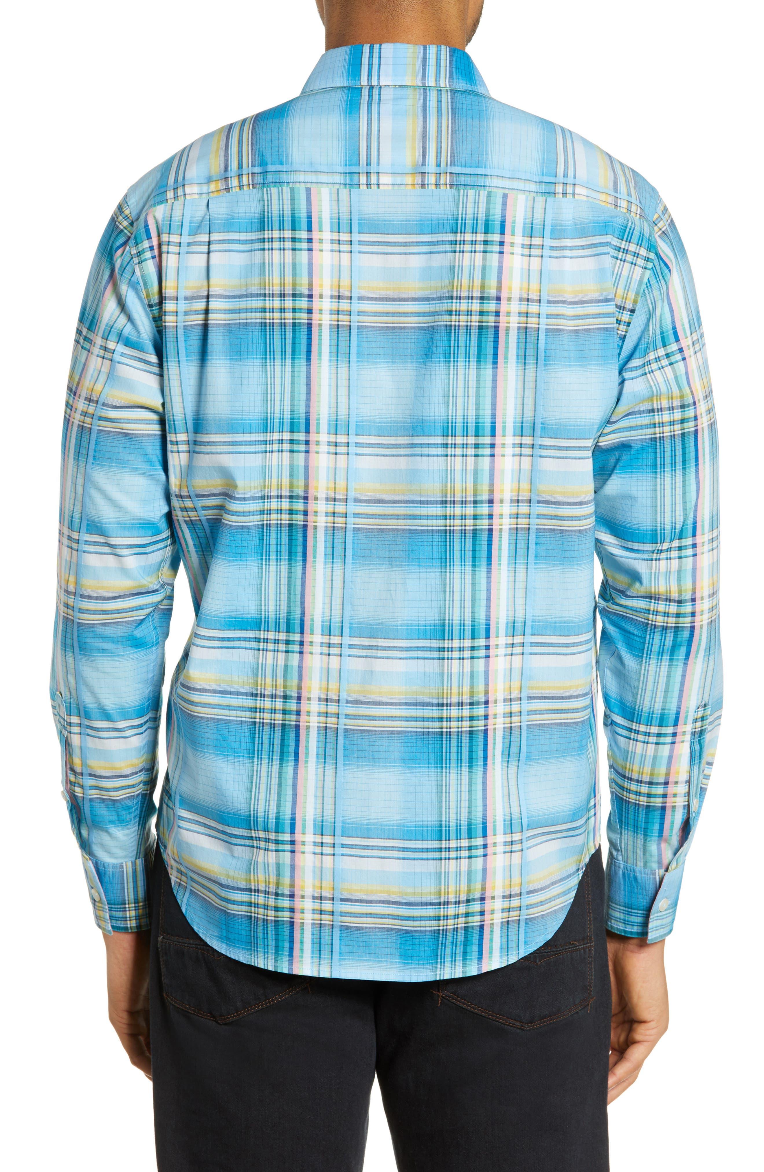 ,                             Palau Classic Fit Plaid Sport Shirt,                             Alternate thumbnail 3, color,                             BEACH HUT BLUE